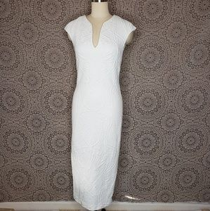 Ted Baker white/ivory embossed bodycon dress